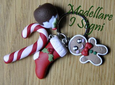 Portachiavi Natalizio - Candy Cane, Pandoro, Uomo Pandizenzero, Calza e Pungitopo Agrifoglio - Perfetto Come Regalo Invernale o per Natale