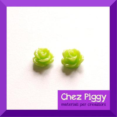 2 x cabochon roselline di resina - VERDE ACIDO