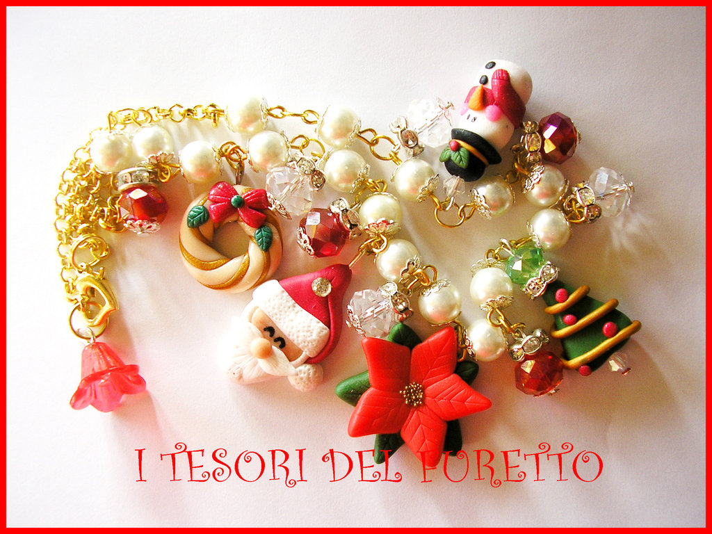 "Collana ""Natale 2013 Babbo Natale e co"" fimo cernit kawaii"