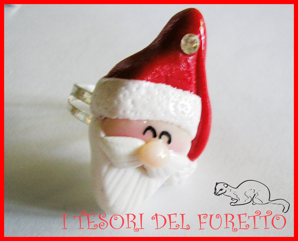 """Anello """"Babbo Natale 2014"""" fimo cernit kawaii"""