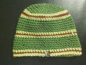 _cappello uomo donna in lana a righe verde marrone e giallo fatto a mano all'uncinetto C003_