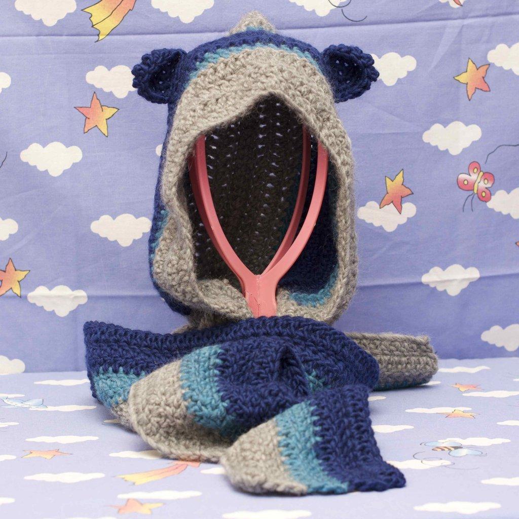 Sciarpa con cappuccio blu