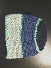 _cappello uomo donna in lana a strisce blu e azzurre fatto a mano all'uncinetto C004_