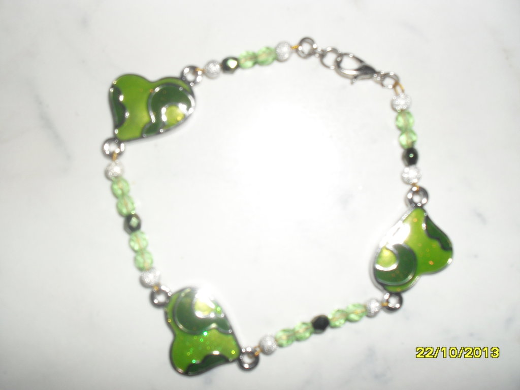 "bracciale ""green hearts"""