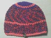 cappello da uomo donna e ragazzo in lana variegata rossa e marrone  fatto a mano all'uncinetto C007