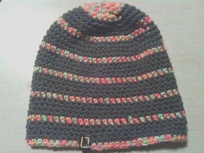 _cappello uomo donna  ragazzo in lana  verde/grigio  a righe fluo fatto a mano all'uncinetto C008_