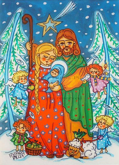 Sacra Famiglia con piccolo angeli presepe stampa