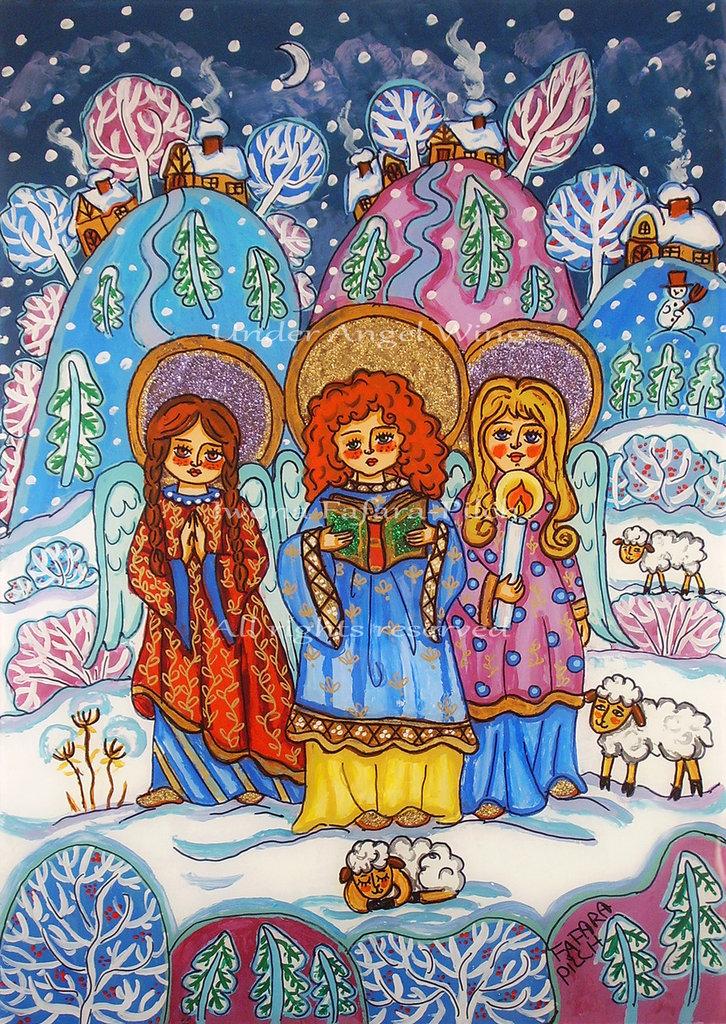 L'angelo canto natalizio presepe stampa