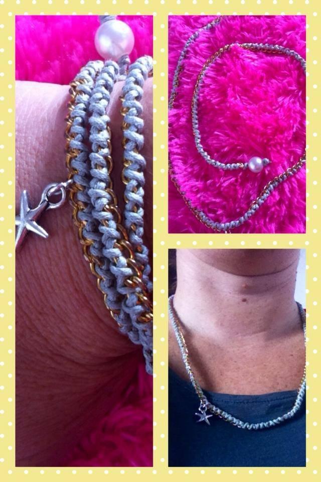 bracciale/collana in corda e catena