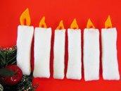 Set di 6 candele in feltro per albero di natale