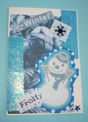 Biglietto di Auguri Natalizio Pupazzo di Neve^^ - Snowman Christmas Cardmaking & Scrap