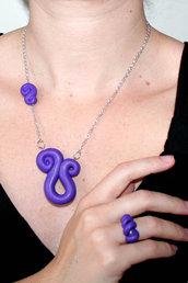 Parure collana - orecchini - anello in FIMO Viola scuro