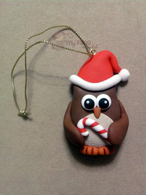 Decorazioni Natale gufo fimo