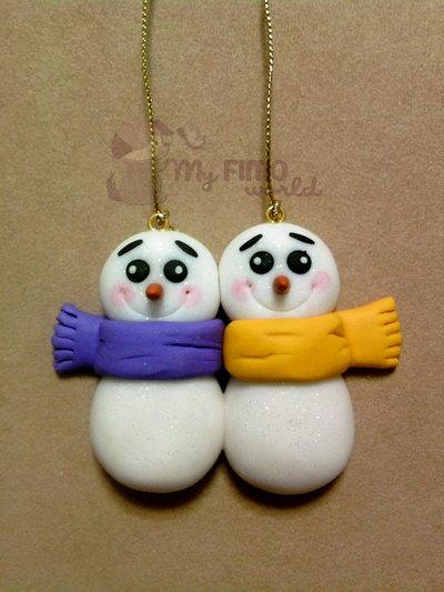 Decorazioni Natale pupazzi di neve fimo