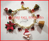 """Bracciale """"Natale 2014  Babbo Natale omino di neve e co."""" Fimo cernit kawaii rosso"""