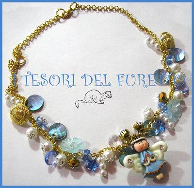 """Collana """"Angioletto  Fufuangel 2013 azzurro oro"""" Fimo cernit kawaii"""