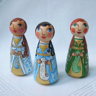 Buon Natale tre angeli colorato gioia Natale figurina