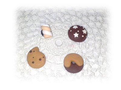 Calamite golose (biscotti abbracci, gocciole, pan di stelle, marshmallow) fimo