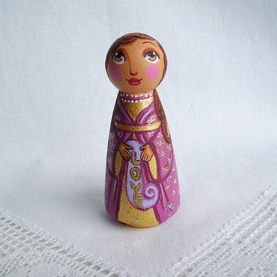 Buon Natale angelo colorato amore viola figurina
