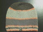 cappello in lana a righe per uomo  donna lavorato a mano all'uncinetto C 015