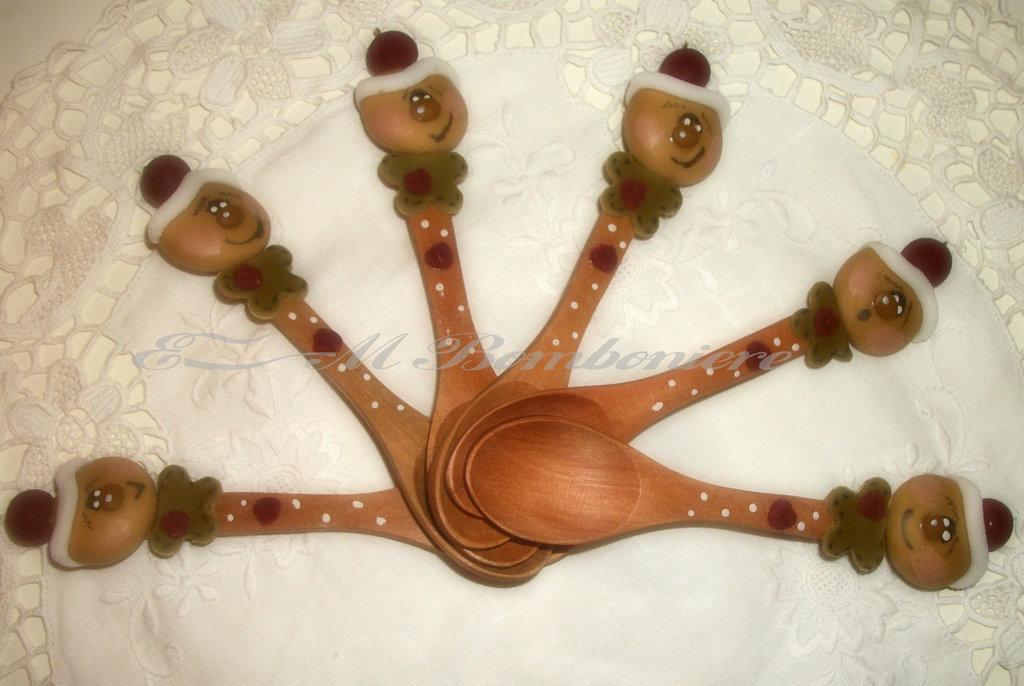 Cucchiaini in legno naturale,decorati