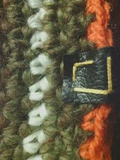 cappelo da uomo e donna in lana verde a righe fatto a mano all'uncinetto C021