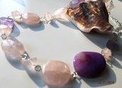 Collana con quarzo rosa e agata viola