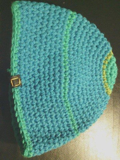 _cappello uomo donna  ragazzo in lana turchese a righe  fatto a mano all'uncinetto C027