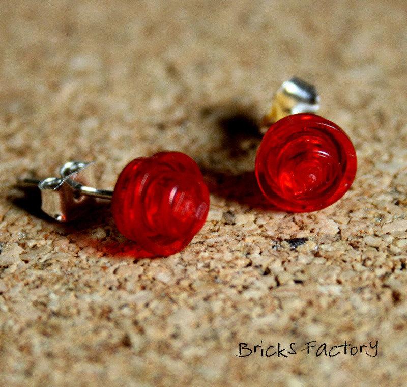 Inserzione riservata per Tommo_Orecchini LEGO originali a perno trasparenti rossi