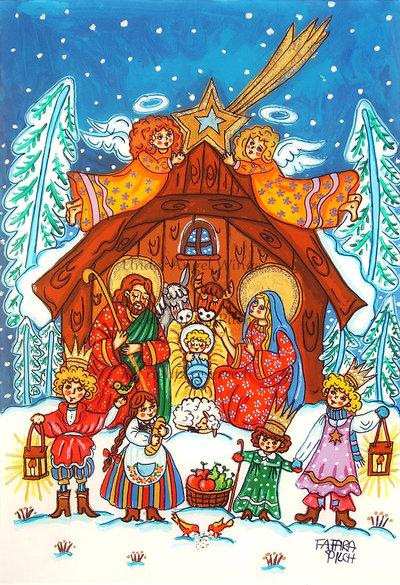 Presepe Natività Sacra Famiglia stampa Gesù