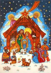 Natività Presepe Sacra Famiglia stampa Tre Re Magi