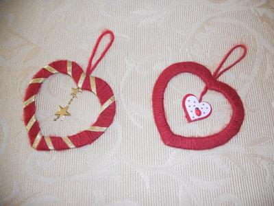 Coppia di decorazioni cuori fatti a mano