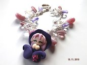 Bracciale folletta portafortuna viola natale 2013 fimo kawaii
