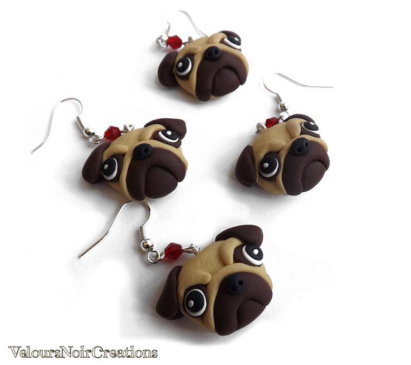 Orecchini cane carlino creati a mano in fimo