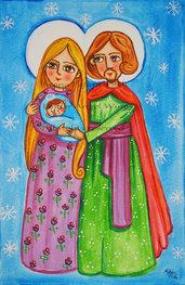 Sacra Famiglia presepe pittura Natività stampa