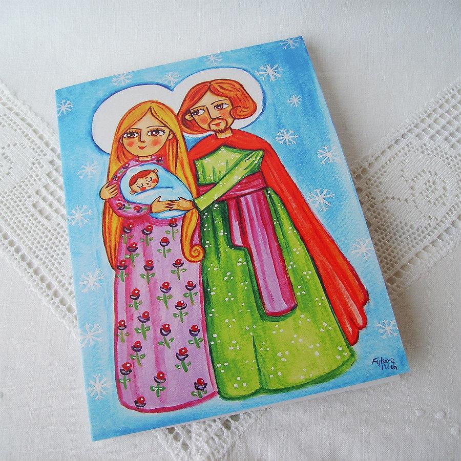 Sacra Famiglia presepe biglietto di auguri natalizio Natale festivo