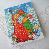 Sacra Famiglia con piccolo angeli biglietto di auguri