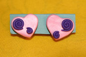 orecchini clip (Senza foro) - Cuore rosa e viola