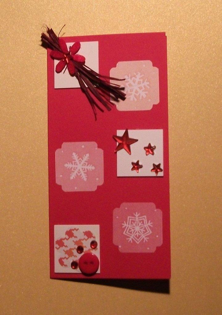 Biglietto di Auguri Natalizio Rettangolo Rosso con Inchies^^ - Red Christmas Cardmaking & Scrap