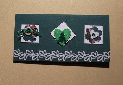 Biglietto di Auguri Natalizio Rettangolo Verde con Inchies^^ - Green Christmas Cardmaking & Scrap