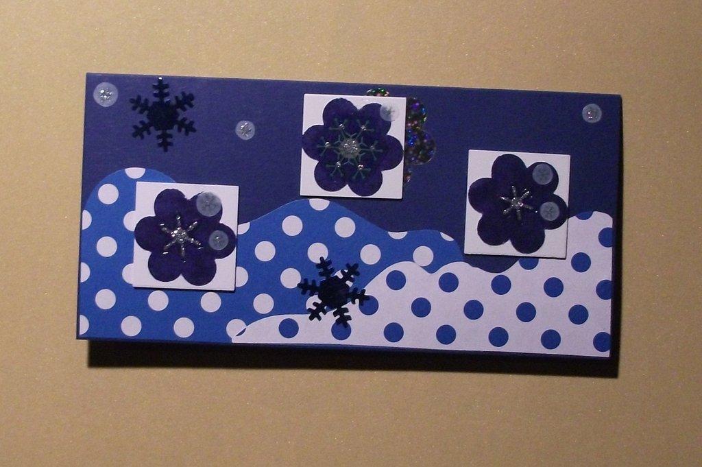 Biglietto di Auguri Natalizio Rettangolo Blu con Inchies^^ - Blue Christmas Cardmaking & Scrap