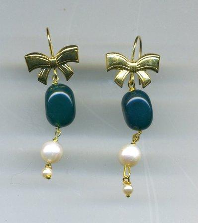 ORECCHINI in argento dorato e agata verde