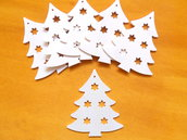 8 Alberelli di Natale con stelline traforate per il dai da te o decoupage