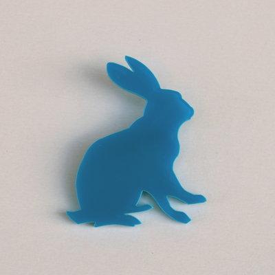 Spilla coniglio plexiglass azzurro Sofiaretrobazar