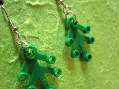 green original LEGO LEAF earrings - retro style