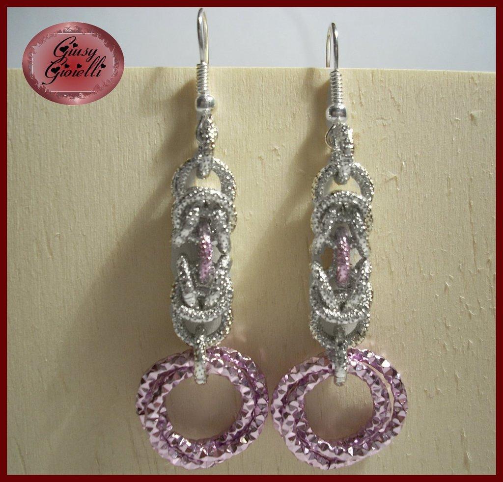 Orecchini chainmail rosa-argento