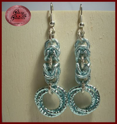 Orecchini chainmail azzurro-argento