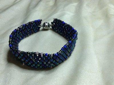 Bracciale Twin bead sfumature verdi/blu