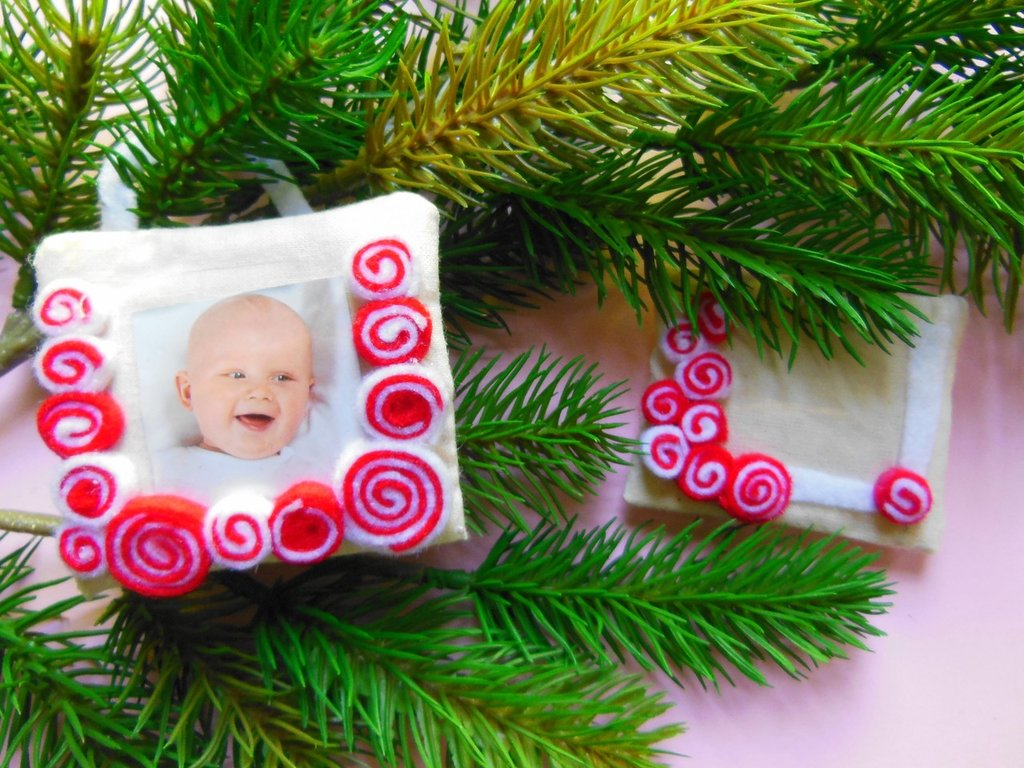 Set di 3 Cornici in tessuto: le decorazioni per l'albero di natale