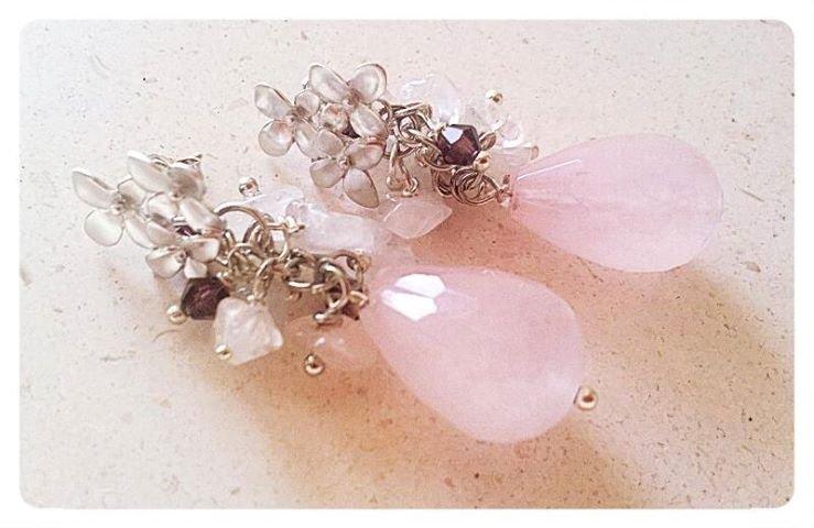 orecchini quarzo rosa e argento 925